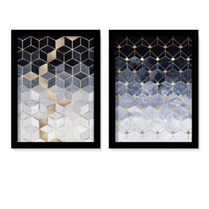 Dueto Quadros Blue & Gold Elegance II