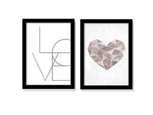 Dueto Quadros Love Coração Geométrico Tons Rose Gold