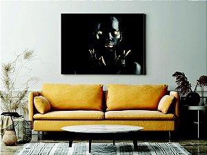 Quadro Tela - Mulher Negra Ouro ab Tela Canvas Quarto Sala