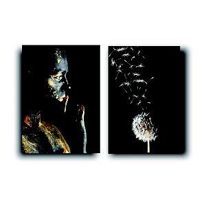 Tela Quadro Mulher Negra Dente de Leão Sala Tela Canvas