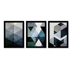 Quadros Decorativos Abstratos Tons Azul Cinza Sala Quarto A4