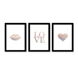 Conjunto Quadros Kiss Love Heart Tons Rose Gold