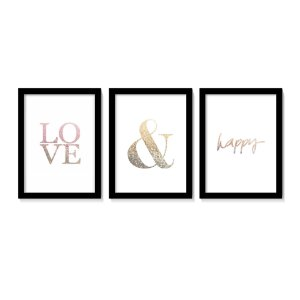 Conjunto Quadros Love Happy Tons Rose Gold