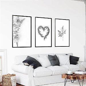 Conjunto Quadros Heart Flowers Preto e Branco