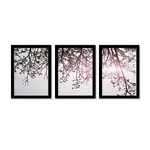 Conjunto Quadros Árvore Galhos Vermelhos