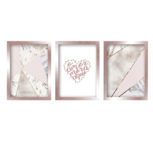Quadros Decorativos Frases Mosaico Moldura Rose Gold