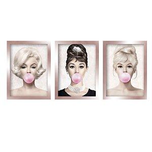 Quadros Marilyn Monroe Audrey Brigitte Moldura Rose Gold