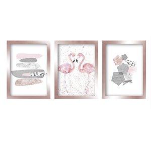 Kit 3 Quadros Flamingo Rose Gold