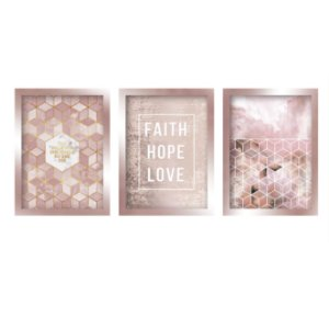 Quadros Decorativo Faith Love Hope Mosaico Rose Gold