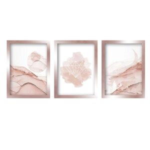 Quadros Decorativo Diamante Abstrato Rose Gold