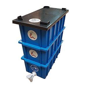 Mini Composteira Doméstica Minhocário Azul - 4 Litros (1 Pessoa)
