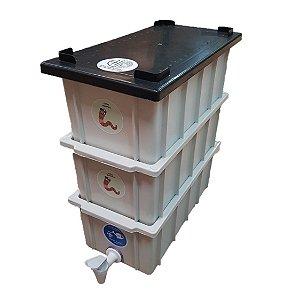 Mini Composteira Doméstica Minhocário Branca - 4 Litros (1 Pessoa)
