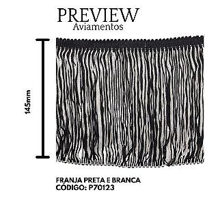 FRANJA PRETO / BRANCO 145 MM 100%VISCOSE