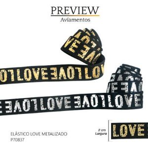 ELASTICO LOVE METALIZADO LARG.20MM ROLO.48YD COMP.100%POLIAMIDA