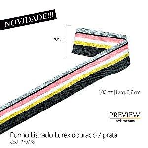 PUNHO LISTRADO COM LUREX PRATA TIRA DE 1MT LARG:3CM
