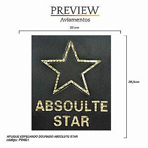APLIQUE ESPELHADO DOURADO ABSOLUTE STAR 22 X 26,5 CM - PACT. C/ 5 UNID - PW601