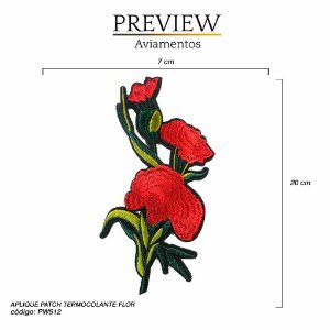 APLIQUE PATCH TERMOCOLANTE FLOR- 14,5 x 20cm  - PACTE C/ 5 UNID - PD90267