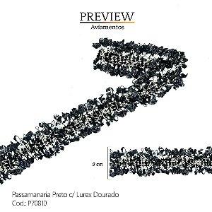 PASSAMANARIA PRETA COM LUREX DOURADO - LARG. 3CM -