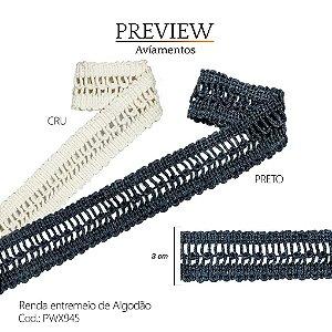 RENDA ENTREMEIO DE ALGODÃO 3CM - PWX945