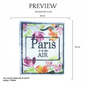 APLICAÇÃO PARIS AIR PAETÊ 22 X 27CM PACOTE C/ 5 UNID - PW564