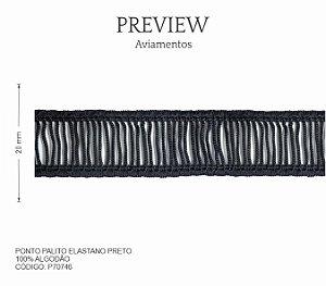 Ponto Palito Elástico Preto P70746 PCT C/ 10.00m Larg. Aprox.: 20mm Composição: 100% Algodão