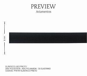 ELÁSTICO LISO PRETO /  LARG. 8MM