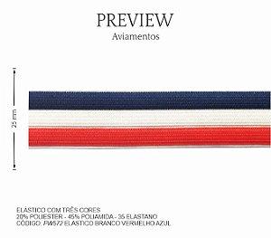 Elástico Branco Vermelho Azul PW572 PCT C/ 10.00m Larg. Aprox.: 25 mm Composição: 20% Poliéster - 45% Poliamida - 35% Elastano