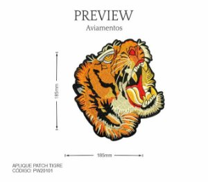 Aplique Patch Tigre PW20101 PCT C/ 5 Unidades  Larg. Aprox.: 180mm x 160mm