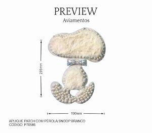 Aplique Patch Snoopy com detalhe em Pelúcia e Pérolas P70586 PCT C/ 5 Unidades  Larg. Aprox.: 190mm x 235mm Composição: Pelúcia e Pérolas