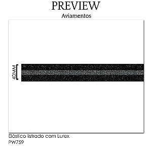 Elástico listrado com lurex PW759 /  PCT C/ 13,70m Larg. Aprox.: 40mm