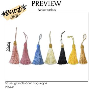 Tassel grande com miçangas RESORT COLLECTION / MÍNIMO: 10U / 90MM