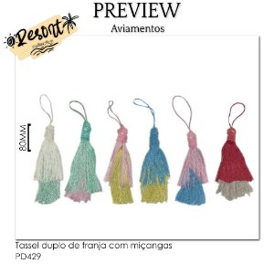 Tassel duplo de franja com miçangas RESORT COLLECTION / MÍNIMO: 10U / 80MM