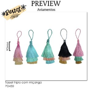 Tassel triplo com miçanga RESORT COLLECTION / MÍNIMO: 10U / 90MM