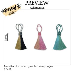Tassel bicolor com alça e tira de miçangas RESORT COLLECTION / MÍNIMO: 10U / 70MM