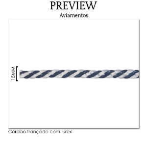 PASSAMANARIA CORDÃO TRANÇADO C/ LUREX / MÍN. 10M / LARG. 15MM - PREÇO DO METRO!