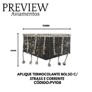 APLIQUE TERMOCOLANTE BOLSO C/ STRASS E CORRENTE LARG. 60MM COMP.90MM