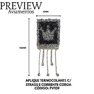 APLIQUE TERMOCOLANTE C/ STRASS E CORRENTE COROA LARG APROX.45MMX110MM