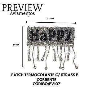 PATCH TERMOCOLANTE C/ STRASS E CORRENTE LARG.95MM COMP.100MM