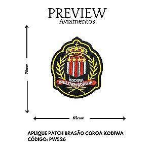 PATCHWORK TERMOCOLANTE BRASÃO COROA KODIWA LARG APROX: 75MMX65MM