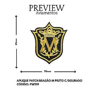 PATCHWORK BRASÃO TERMOCOLANTE M PRETOC/DOURADO LARG APROX.70MMX80MM