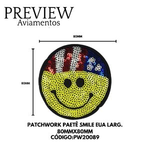 PATCHWORK PAETÊ SMILE EUA LARG 80MMX80MM