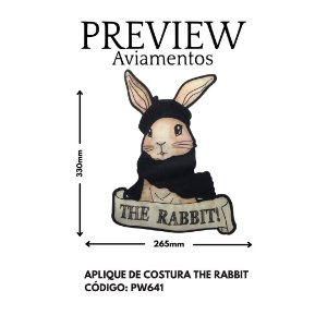 APLIQUE DE COSTURA  COELHO THE RABBIT LARG APROX: 330MMX265MM