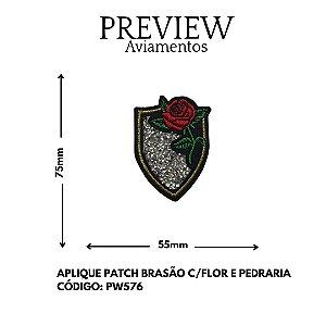 APLIQUE TERMOCOLANTE BRASÃO C/ FLOR E PEDRARIA 75MMX55MM