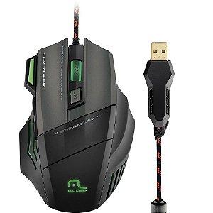 Mouse Gamer Multilaser Profissional Warrior 7 Botões 3200 DPI Preto USB - MO207