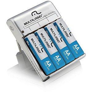 Carregador de Pilhas AA/AAA + 4 Pilhas AA Multilaser - CB054
