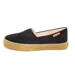 Tênis Slip On Quality Shoes Feminino 002 Camurça Preto Sola Caramelo