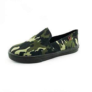 Tênis Slip On Quality Shoes 004 Camuflado Sola Preta
