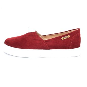 Tênis Slip On Quality Shoes Feminino 002 Camurça Bordô