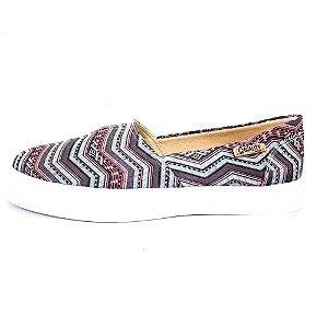 Tênis Slip On Quality Shoes Feminino 002 Étnico Azul