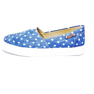 Tênis Slip On Quality Shoes Feminino 002 Jeans Poá